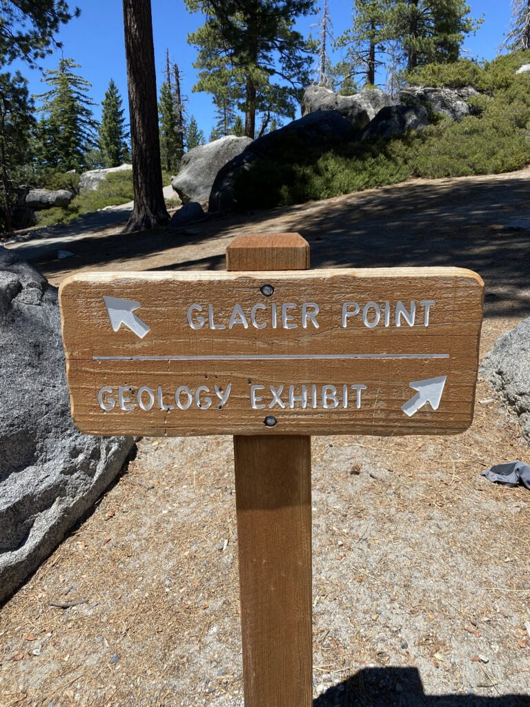 Sign Glacier Point and Geology Exhibit in Yosemite