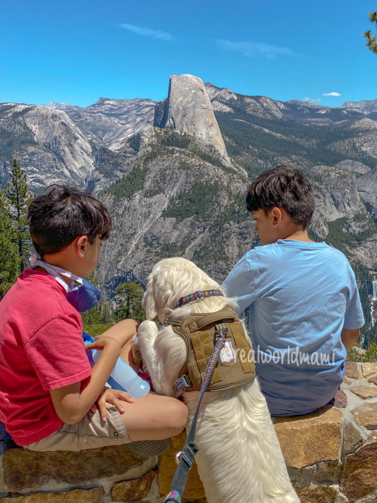 Yosemite half Dome view -travel with kids and  Dog after COVID