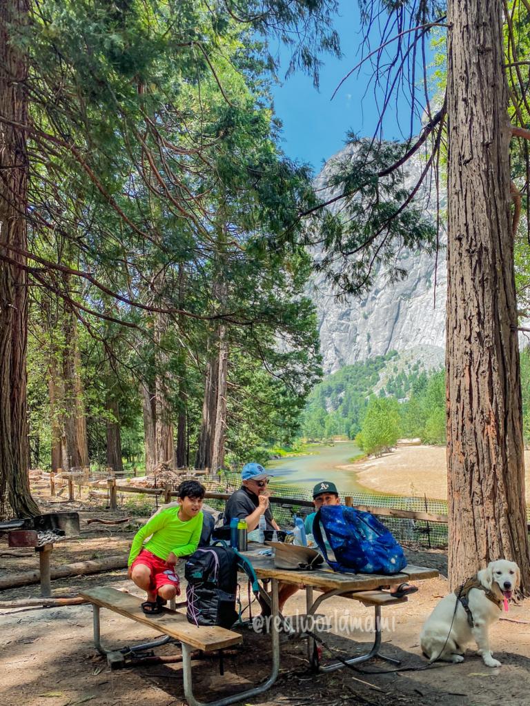 Picnic at Swinging bridge in Yosemite
