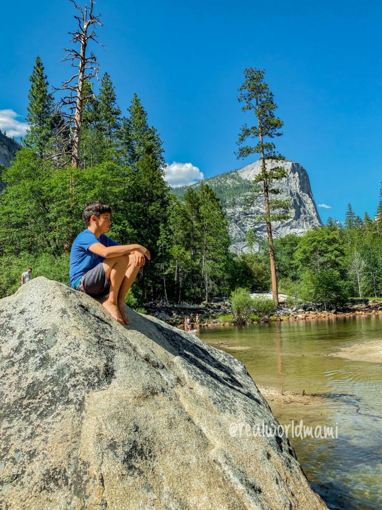 Visit mirror lake in Yosemite with kids
